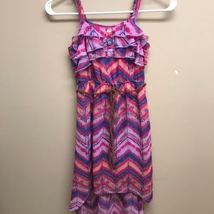 Patterned M Old Navy dress, shorter in the front